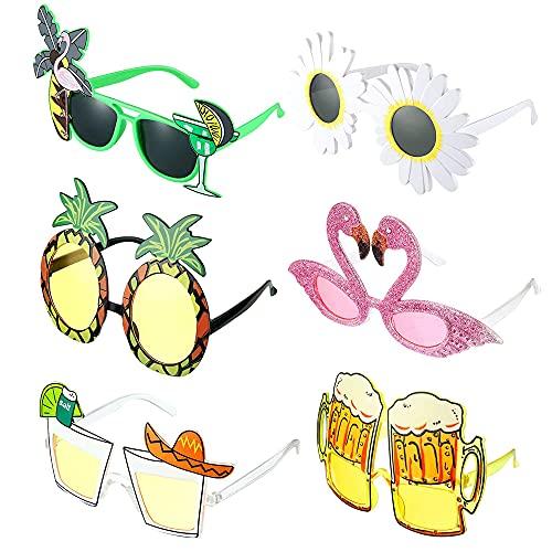 MOPOIN Lustige Brillen, 6 Stück Party Sonnenbrille Hawaiian Tropical Party Brille für Strand Thema Dekoration, Party Zubehör, Foto Requisiten (6 Designs)