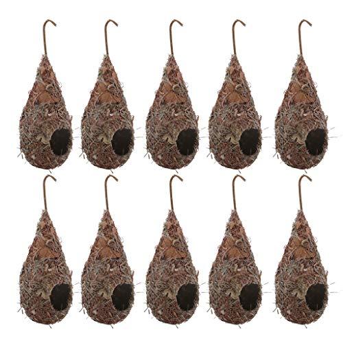 HomeDecTime - Gabbia per uccelli in paglia intrecciata a mano, 10 pezzi, per pappagalli, piccioni, rondini, piccoli animali domestici