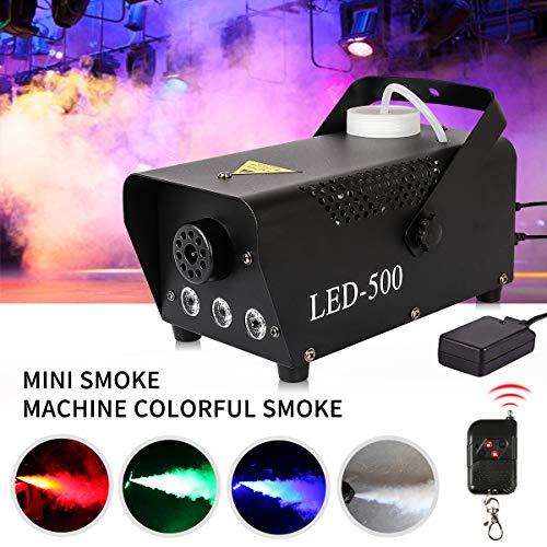 Nebelmaschine, 500W Mini Rauchmaschine mit RGB Gemischte Farbe LED Lichter Effekt mit Funkfernbedienungen für Halloween Party Hochzeit Bühneneffekt