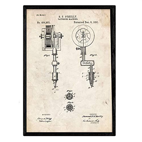 Nacnic Stampa Artistica Sfondo Vintage con Immagine Progetto Macchina per tatuare. Brevetto Tatuaggi. Arreda Il Tuo Negozio o Fai Il Regalo Perfetto. 250 Grammi di Alta qualità.