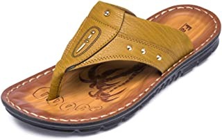 Fashion Summer Fashion Beach Flip Flops For Men Microfiber Leather Lightweight Breathable Casual Slippers Waterproof Quick-drying Anti-slip Round Toe DIE