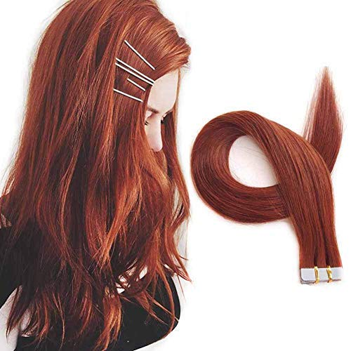 Seamless Remy Tape in SHOWJARLLY Hair Extensions 20-inch Straight #33 Copper Red Weft-knitted Leather Hair Tape (50g, 20Pcs)