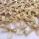 Lot de 100 mini nœuds en ruban dorés pour décoration de fête.