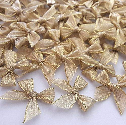 100 mini lazos dorados para decoración de fiestas