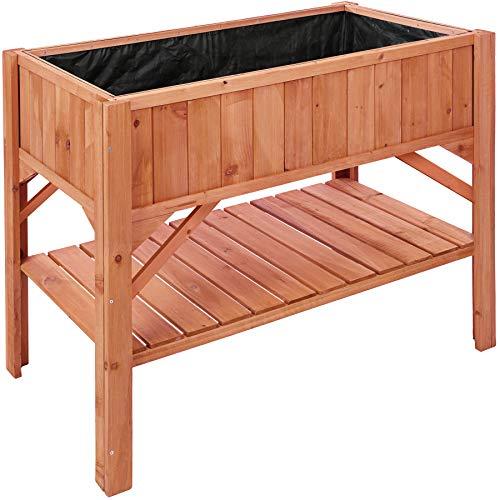 TecTake 403232 Hochbeet aus Holz mit Ablagefach, für Garten, Balkon und Terrasse, Innenleben zum Schutz mit Pflanzfolie ausgestattet, Witterungsbeständig, 119 x 53 x 90 cm