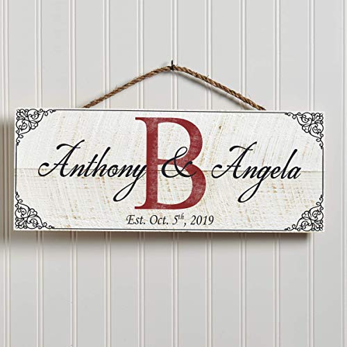Artblox Hand Made Personalized Name Sign   100% Real Wood Wall Decor   Customized Monogram Family Farmhouse Signs   Rustic Home Decor   Housewarming Gifts   Anniversary Wedding Gift - (18