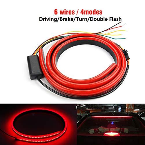 DEFVNSY 1 Juego de Luces de Freno LED adicionales para Coche, 100 cm, 12 V, Flexible, Color Rojo, 90/100 cm, Tercera luz de Freno con luz de Advertencia de señal de Giro de conducción