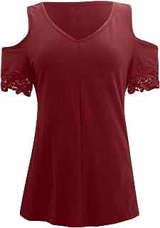 Dubocu Women T-Shirt Plus Size V Neck Short Sleeve Off Shoulder Solid Color Summer Loose Casual Tops Shirt Blouse