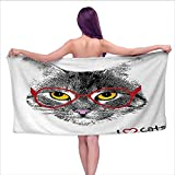 Eybfrre Bath Towels Prime Cat,Wise Nerd Cat with Glasses Judging The World Humor Digital Style Art Illustration,Black White Red,W10 xL39 for bathrooms, Beaches, Parties