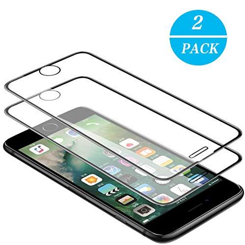 WEOFUN 3D Panzerglasfolie für iPhone 6/6s/7/8 [2 Stück] ,Panzerglas kompatibel mit iPhone 6,iPhone 6S,iPhone 7,iPhone 8 [ 9H Härte Displayschutz, Anti-Kratzen, Anti-Öl, Anti-Bläschen ] - Schwarz