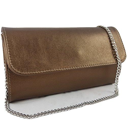 Freyday Echtleder Damen Clutch Tasche Abendtasche Muster Metallic 25x15cm (Bronze Metallic)