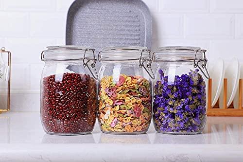 Annfly 3 tarros de almacenamiento de vidrio con clip superior para conservar, pegatinas reutilizables y bolígrafos de tiza colección surtidos de recipientes herméticos para alimentos secos (1000 ml)