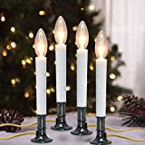 Goothy Electric Window Candles Lights with Nickel Plated Base, Plug in Christmas Window Candles Lamp with C26 Clear Lights Bulb, Turn On/Off, 4 Pack