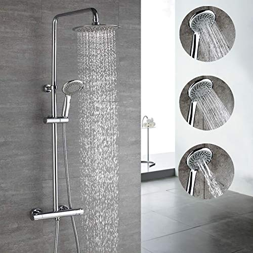 HOMELODY Thermostat Duschsystem Duscharmatur Duschset Duschsäule mit Drei-Strahlen Regendusche Handbrause inkl. Überkopfbrause Duschstange