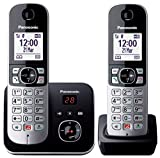 Panasonic KX-TG6862JTB Telefono Cordless DECT Doppio (Twin Pack) con Segreteria Telefonica,...