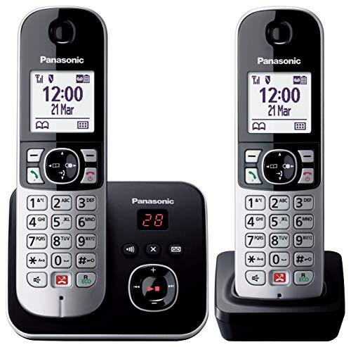 """Panasonic KX-TG6862JTB Telefono Cordless DECT Doppio (Twin Pack) con Segreteria Telefonica, Vivavoce, Ampio Schermo Bianco da 1.8"""", Ricevitore Aggiuntivo con Stazione di Ricarica Inclusa"""