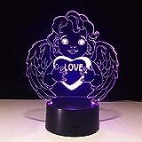 Celebre el Regalo del día del Padre Amor Ángel Tipo de Color Interruptor táctil Luz Decoración de la habitación Decoración Lámpara de Mesa Iluminación del sueño