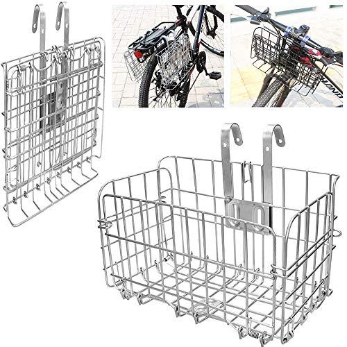 ASPIRER Cestino anteriore della bicicletta – pieghevole e staccabile in rete metallica a sgancio rapido per bicicletta multiuso (argento)
