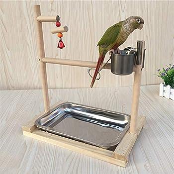 ZN Plateforme en bois pour cage à oiseaux avec mangeoire, perchoir, espace de jeu, mangeoire, accessoires de dressage, plateau Pour perroquets, cacatoès, canaris