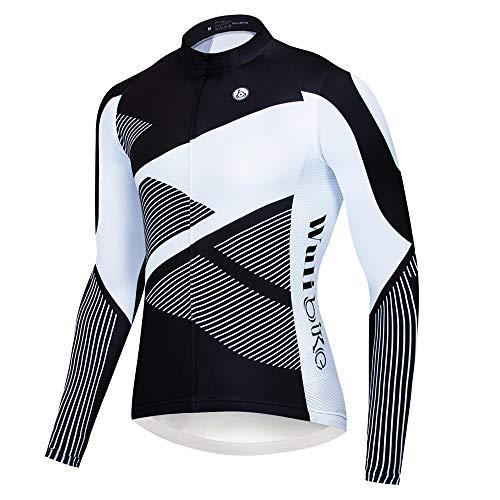 logas Fahrradtrikot Herren Langarm MTB Jersey Atmungsaktiv Radsport-Shirt mit Tasche und Gel