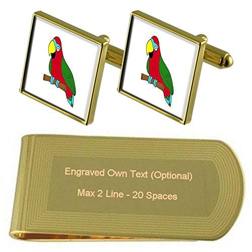 Select Gifts Parrot Bird Tono Oro Gemelos Money Clip Grabado Set de Regalo
