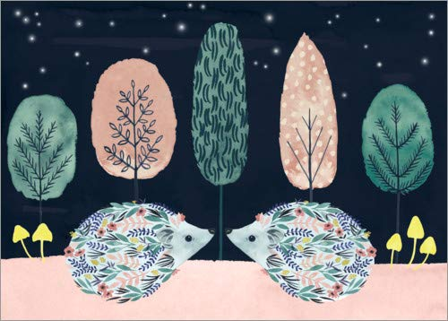 Lienzo 40 x 30 cm: Two Little Hedgehogs de Grace POPP/World Art Group - Cuadro Terminado, Cuadro sobre Bastidor, lámina terminada sobre Lienzo auténtico, impresión en Lienzo