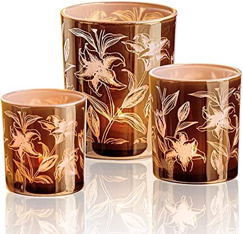 HOMMAX Teelichthalter 3 er Set, Windlicht aus Glas, Lilienmuster Kerzenhalter, Teelichtglas für Wohzimmer,Schlafzimmer, Tischdeko oder als Geschenk