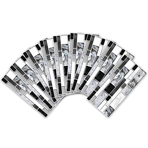 SZBLYY Pegatinas baldosas 9 Piezas Azulejo removible Backsplash Autoadhesivo Mosaico Mosaico Pegatinas de Pared de mármol Resistente al Calor Baño de Vinilo Cocina Decoración del hogar