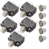 T Tocas 5pcs Push Button Reset 5A Circuit Breakers with Quick Connect Terminals and Waterproof Button Cap