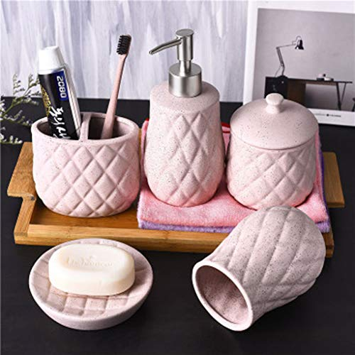 LYY Badezimmer zubehör Set ,Bad Accessoires Set,5tlg badset Badezimmer zubehör Set ,Zahnbürstenhalterung,Seifenspender,Behälter und Becher – rosa,Keramik