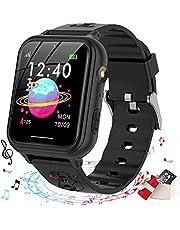 Smooce Kids Smart Horloge Telefoon, kids smartwatch Muziekspeler met Sd-kaart 7 Puzzel Games Call SOS Camera Alarm Recorder Calculator Mp3 voor Verjaardag Speelgoed Kinderen Jongens Meisjes (black)