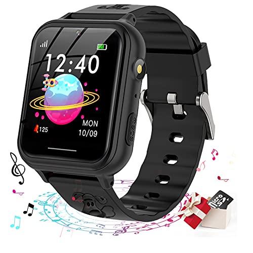 Smooce Smartwatch para Niños, Reloj Inteligente niño, Reloj Teléfono para Niña y Niño Pantalla Táctil con Música, 7 Juegos, Llamada SOS, Cámara, Linterna, Reloj Inteligente para Niños Regalo (Negro)