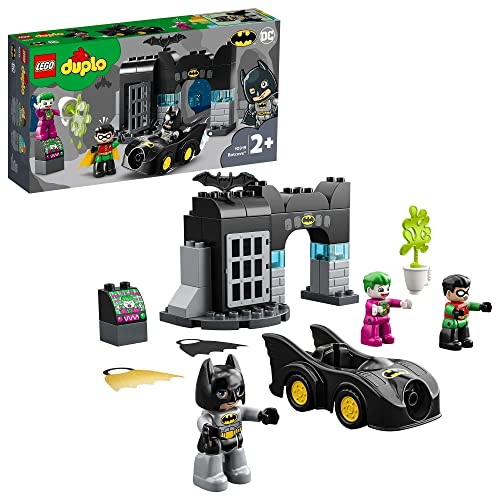 LEGO 10919 DUPLO Super Heroes DC Batman Bathöhle mit Batmobil und Joker, Spielzeugauto für Kleinkinder ab 2 Jahren