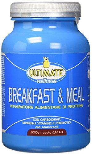Breakfast & Meal – Integratore Alimentare Di Proteine – Con Carboidrati, Minerali, Vitamine E Prebiotici – Uno Shake Per Prima Colazione O Pasto Ipocalorico – Gusto Cacao – 500 g – Ultimate Italia