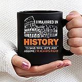 N\A Me especialicé en Historia para Ahorrar Tiempo - Tazas de café de cerámica Negra