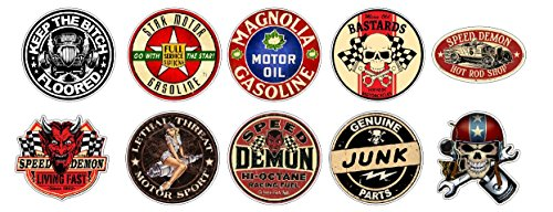 Aufkleber Set 10x Oldschool Vintage Speed Devil Mean Old Bastards Hotrods Sticker + Gratis Schlüsselringanhänger aus Kokosnuss-Schale + Auto Motorrad Laptop Tuning Motorsport American Muscle Cars