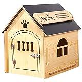 Casa de Madera para Perros I Casa para Perros de Interior I Lugar para Dormir para Las Mascotas I Repelente al Agua y Estable I Varios tamaños y Colores (M (51 x 39 x 52), Style 6)