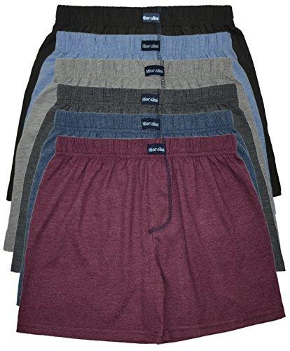 MioRalini TOPANGEBOT Boxershorts farbig weich & locker in neutralen Farben klassischen Unifarben Herren Boxershort, 6 Stück Ohne Eingriff 01, L-6