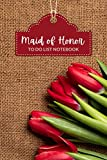 Maid of Honor To Do List Notebook: Red Tulip Flower on Brown Burlap - Floral Theme / Checklist Planner / Event Planning Journal / Wedding Gift For Maid of Honor from Bride / Cute Card Alternative