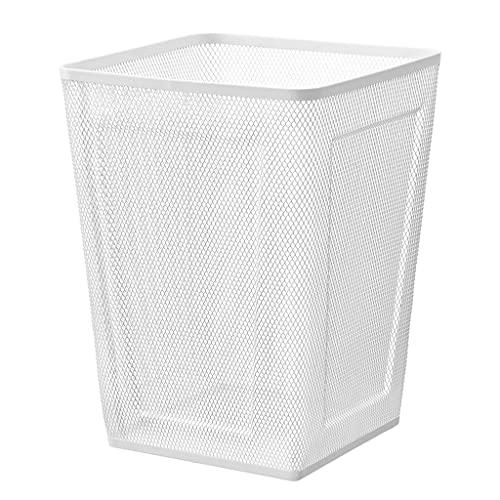 Papeleras Papelera de basura de la basura de la basura de la basura Cesta de basura rectangular de la basura del papel del papel de reciclaje de papel adecuado para el estudio de oficina blanca Bote d