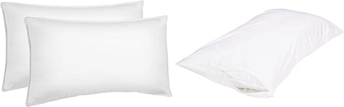 Amazon Basics Soft Density Bed Pillows - King (Pack of 2) with Hypoallergenic Pillow Protector Cover (White, King) Combo