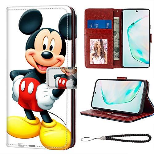 DISNEY COLLECTION Funda tipo cartera para Samsung Galaxy Note 10, de piel sintética, diseño de Mickey Mouse, con correa de mano, con compartimento para dinero para mujeres y niñas