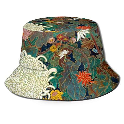 Sombrero de Cubo de Viaje con Estampado de tiburón Azul y Blanco Unisex, Gorra de Pescador de Verano, Sombrero para el Sol, Pintura Japonesa de Flores