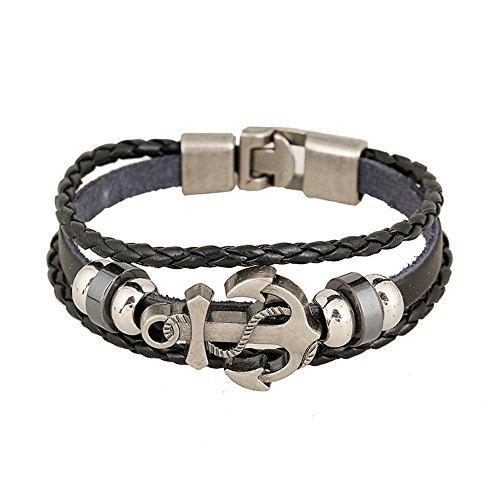 Leder-Armband, mit Anker, für Damen und Herren, Legierung, verstellbares geflochtenes Armband, für die meisten Menschen geeignet