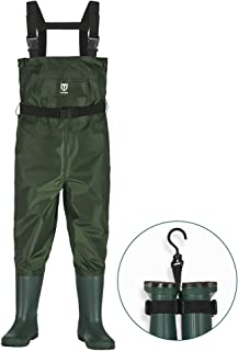 TideWe Chest Waders for Kids, Waterproof Youth Waders with Boot Hanger, Lightweight Durable PVC Kids Chest Waders with Boot for Fishing & Hunting (Green)