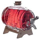Dispensador de bebidas de cristal con soporte de madera, 1 litro