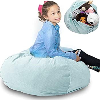 """Stuffed Animal Storage Bean Bag Chair Cover ❤️ """"SOFT 'n SNUGGLY"""" Corduroy Kids & Toddlers Prefer Over Canvas - Replace Plush Toy Hammock or Net - Store Blankets & Pillows Too - Large 4 Colors"""