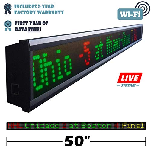 Fantasy Sportsticker 50-Inch LED Sign with Live Content, Displays Stats, Scores, Odds, Breaking News and Major Sports Coverage