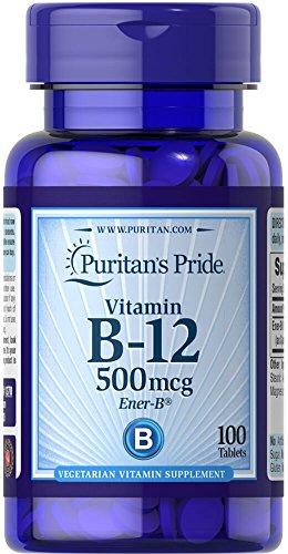 Vitamina B-12 500 mcg 100 tabletas. B12. Puritan's Pride 1 und.