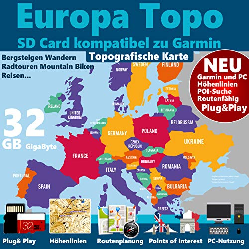 ►Europa Karte 32GB micro-SD-Card Class 10 GPS Topo Karte für Garmin Geräte – Navigation Wandern, Bergsteigen, Fahrrad, Radfahren, Radtour , Topografische Outdoor Karte für GPS Navigatione